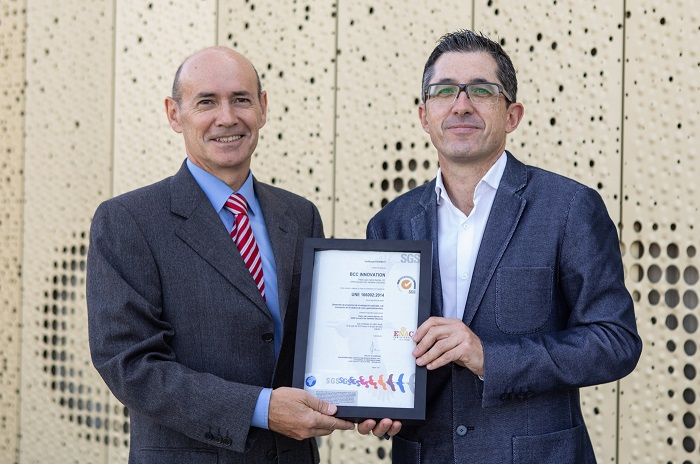 Entrega certificado ISO 166002 de SGS a Basque Culinary Center